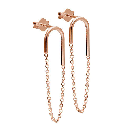 Rose Gold Plated Sterling Silver Curve Bar Chain Earrings