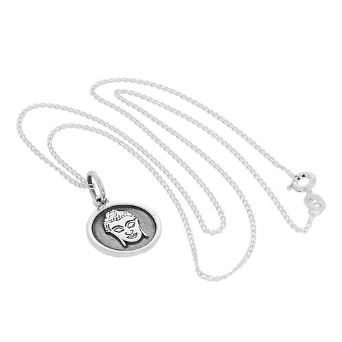 Sterling Silver Round Buddha Necklace