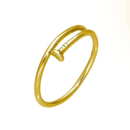 Gold Plated Sterling Fine Nail Ring