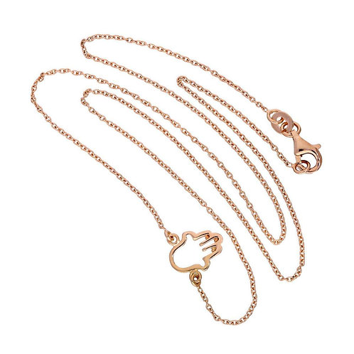Rose Gold Plated Sterling Silver Hamsa Necklace