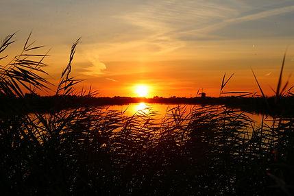 Grootschermer polder at sunset