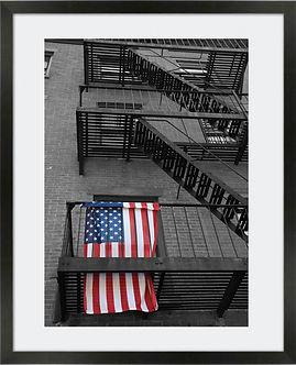 NY Balcony with USA flag