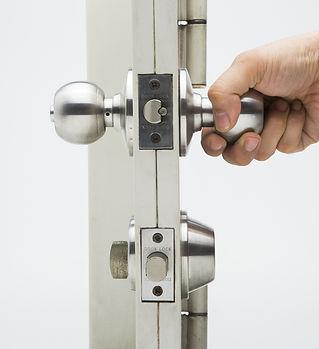 Door knobs, aluminum door white backgrou
