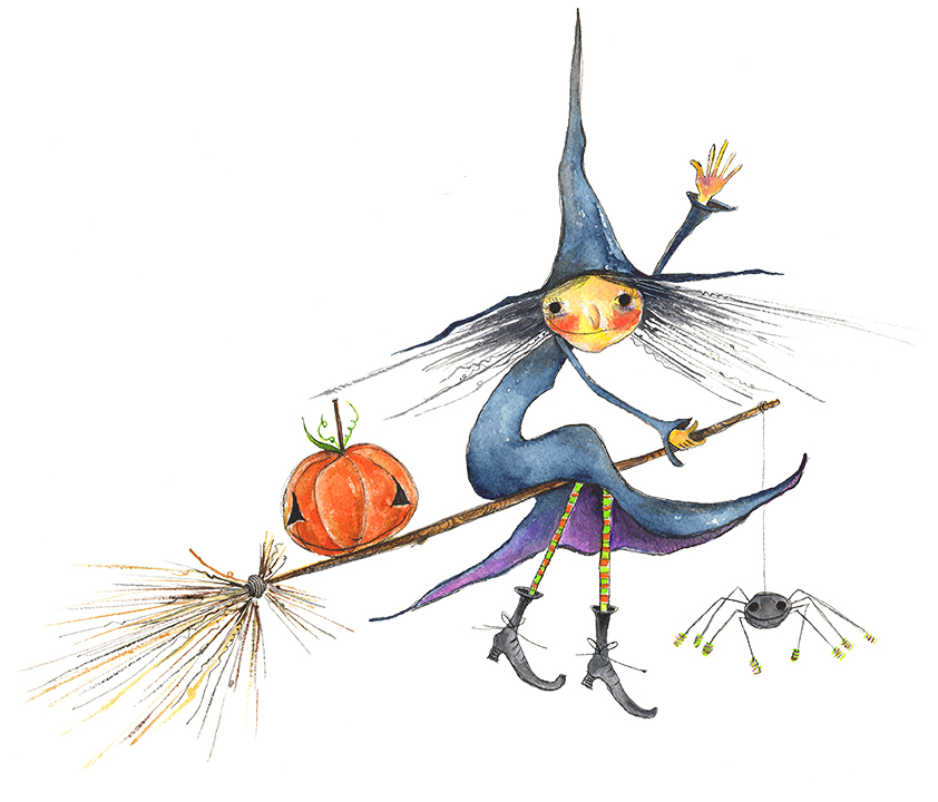 Halloween Witch on Broomstick