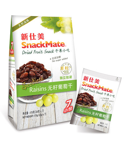SNACKMATE 新仕美原粒葡萄乾 (獨立袋裝) | SNACKMATE Seedless Raisins 175g (re-sealable bag)