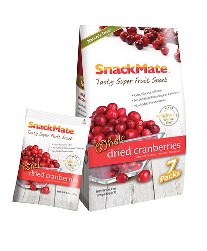 SNACKMATE 新仕美原粒紅莓乾 (獨立袋裝) |  Whole Dried Cranberries 175g (re-sealable bag)