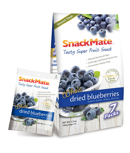 SNACKMATE 新仕美原粒藍莓乾 (獨立袋裝) | Whole Dried Blueberries 105g (re-sealable bag)