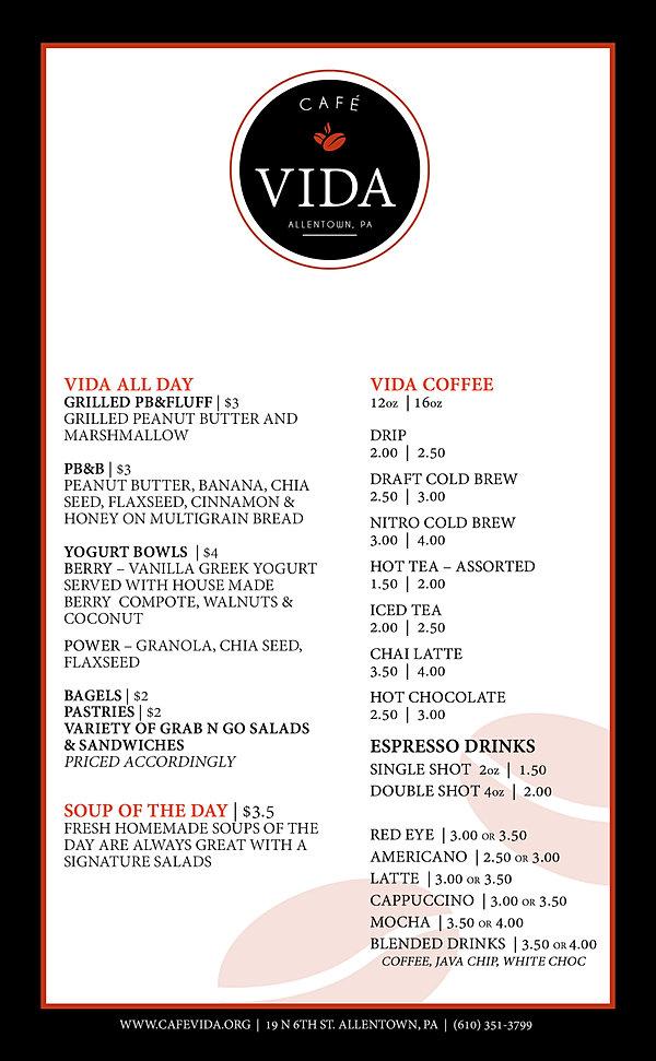 Cafe Vida Menu Allentown