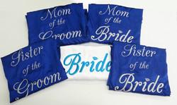 Batas para novia y damas en azul