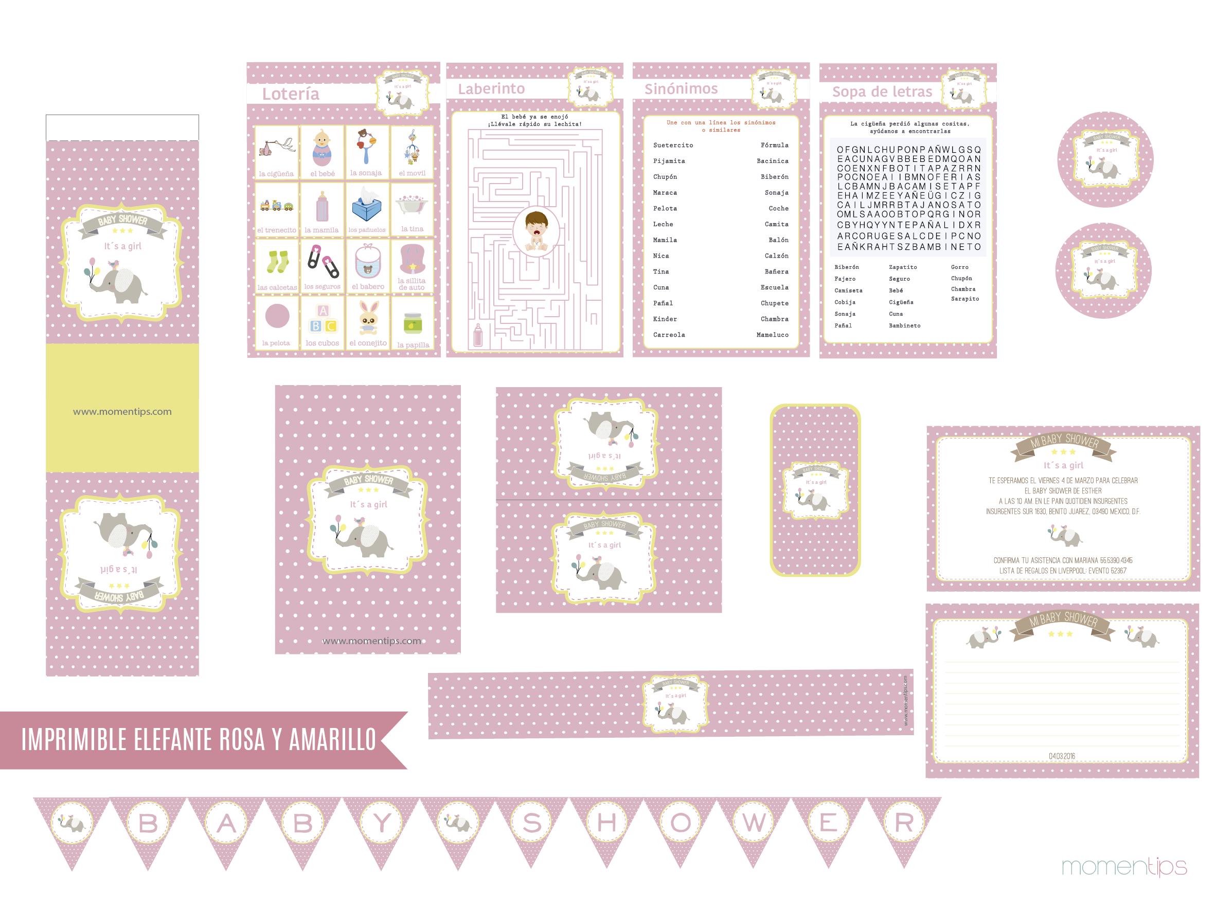 Imagen imprimible elefante rosa y amarillo-01
