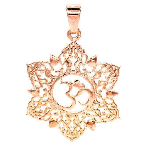 Pendentif om lotus couleur or rose