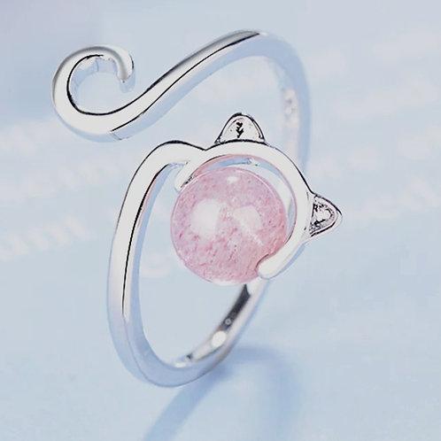 Bague chat pierre rose en verre réglable argent 925