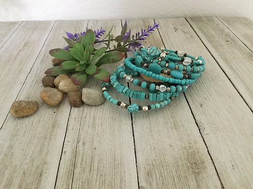 Solid Turquoise 7-Ring Wrap Bracelet