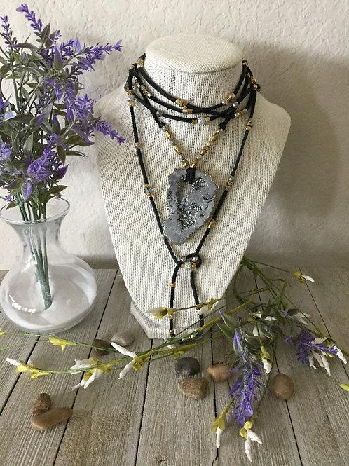 Silver Druzy Wrap Necklace