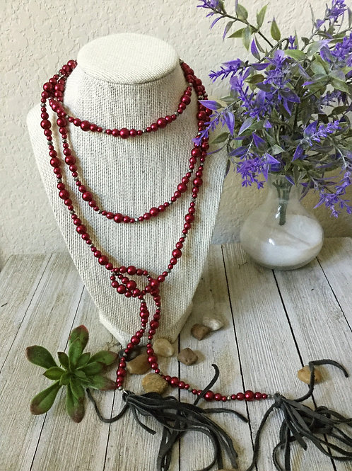 Red Pearl Wrap Necklace