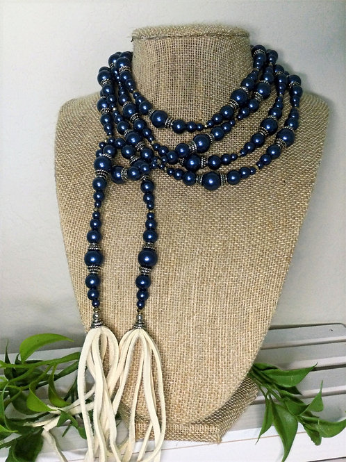 Navy Blue pearl Wrap Necklace