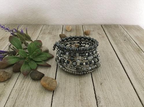 Silver Stone 7-Ring Wrap Bracelet