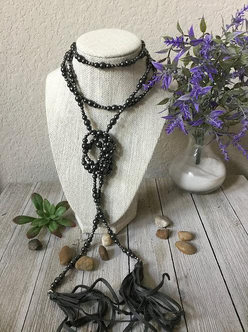 Gun Metal Pearl Wrap Necklace