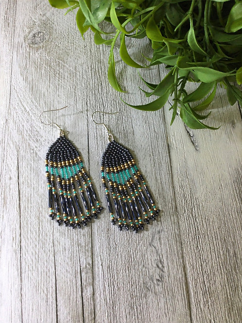 Gun Metal Blue Fringe Earrings