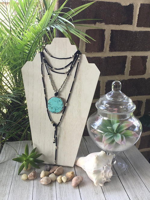 Turquoise & Rhinestone Wrap Necklace