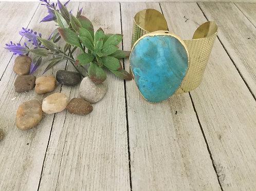 Turquoise Gold/Blue Cuff Bracelet