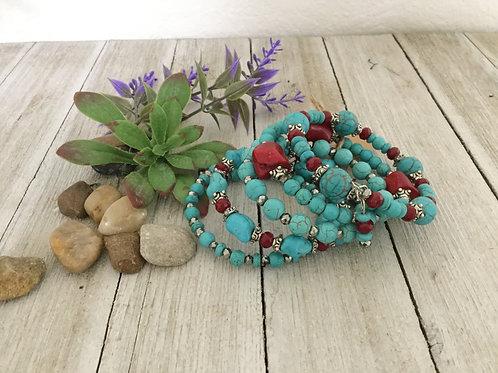 5-Ring Turquoise & Red Wrap Bracelet