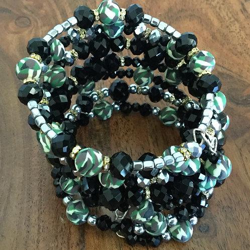 5-Ring Black & Camo Bracelet