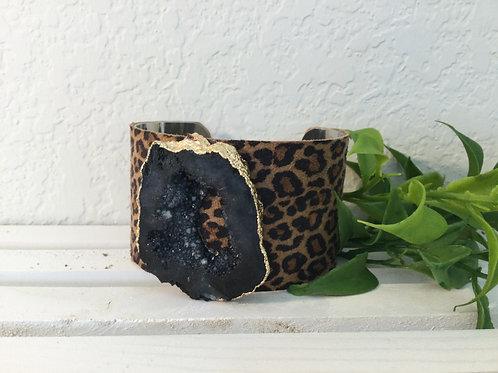 Black Druzy Stone Cuff Bracelet