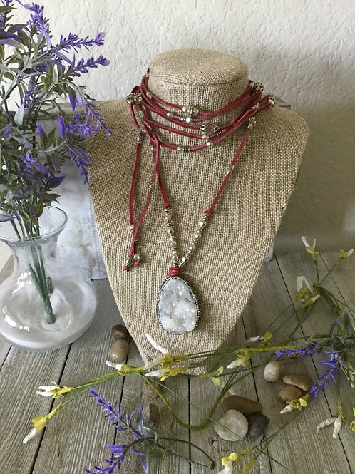 White Stone Wrap Necklace