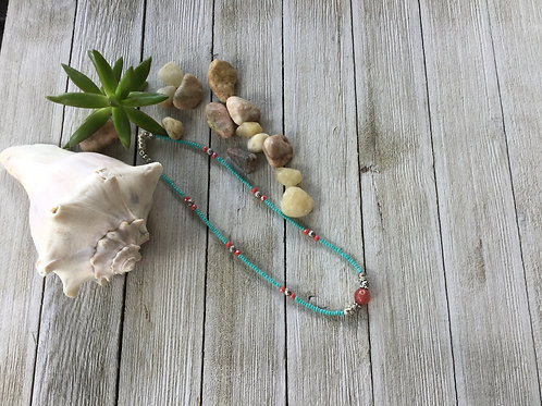 Turquoise & Coral Choker
