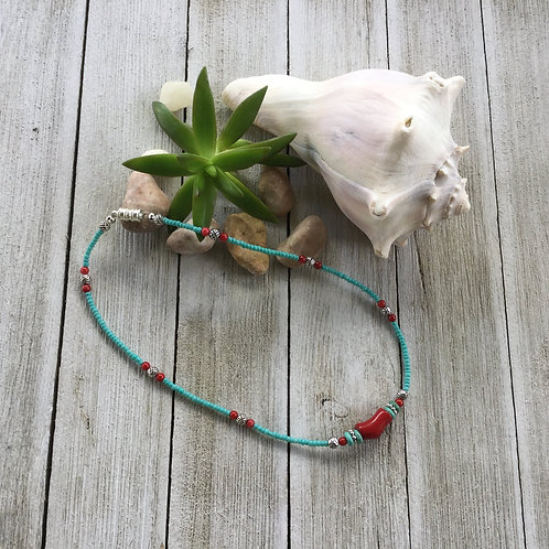 Turquoise & Red Choker