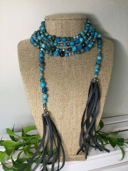 Blue Green Wrap Necklace