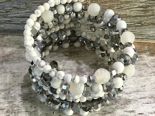 White & Silver Gray Wrap Bracelet