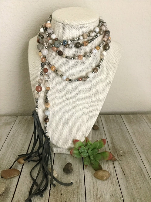 Natural Semi-Precious Wrap Necklace