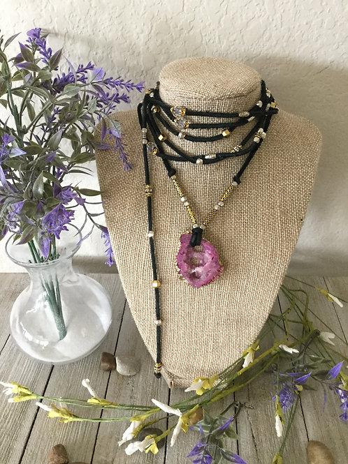 Pink Druzy Wrap Necklace