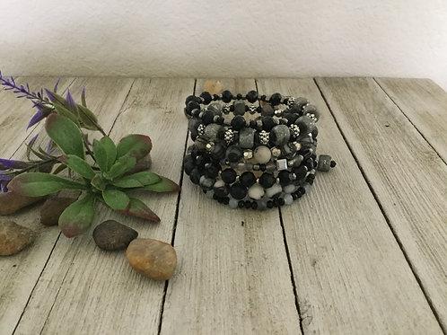 Black Jasper 7-Ring Wrap Bracelet