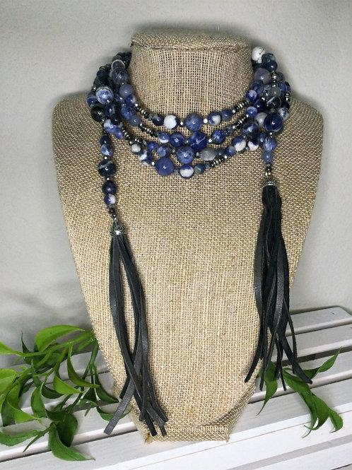 Navy Sodalite Semi-Precious Wrap Necklace