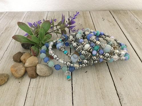 Ocean Blue 7-Ring Wrap Bracelet