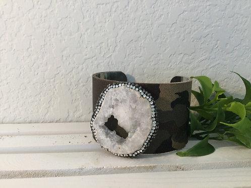 Camouflage White Druzy Cuff Bracelet