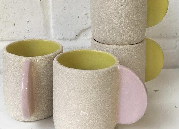 Pastel Pink handle & Yellow Interior Mug
