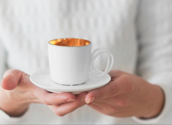 Twisted espresso white cup gold inside + Saucer