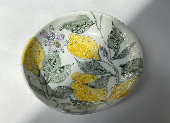 Lemons with purple Flowers Bowl