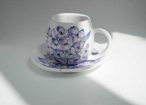 Purple Orchid Mug+Saucer