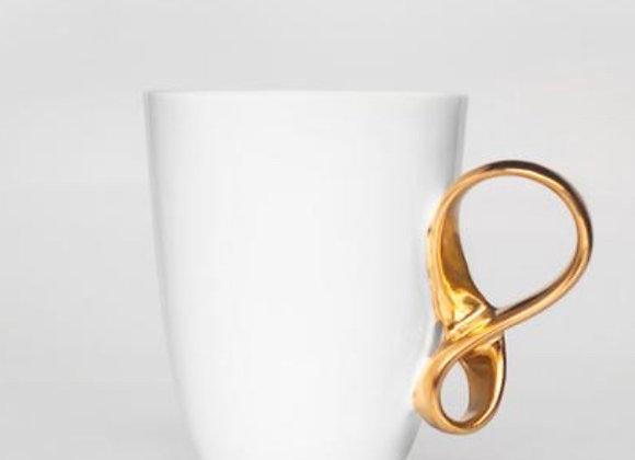 Gold Twisted Handle White Mug