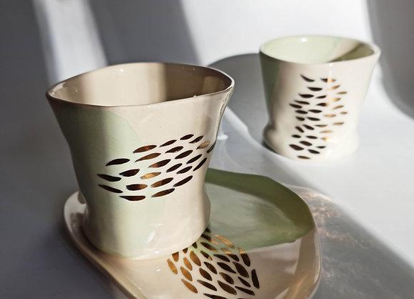 Allure Green & Bronze Mug+Saucer