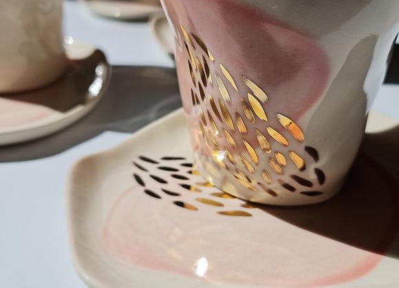Allure Pink & Gold Mug+Saucer