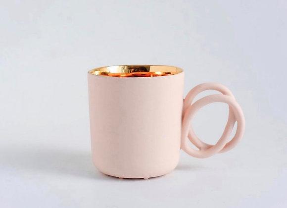 Pink Mug-Golden Painted Inside