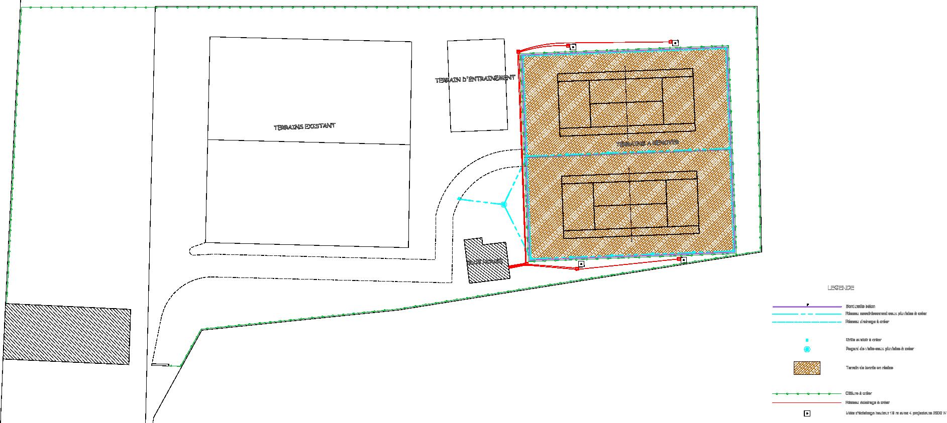 Plan projeté des terrains de tennis