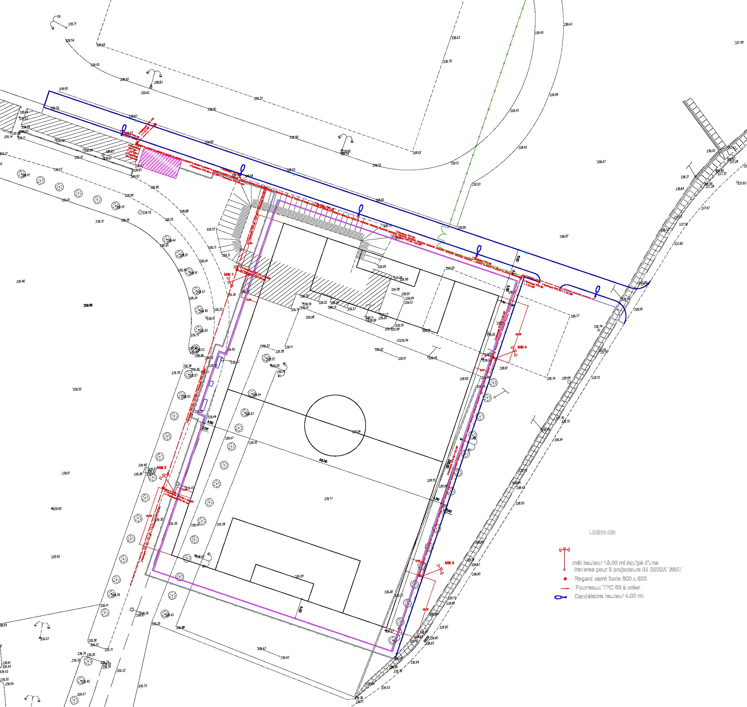 Plan d'éclairage projeté