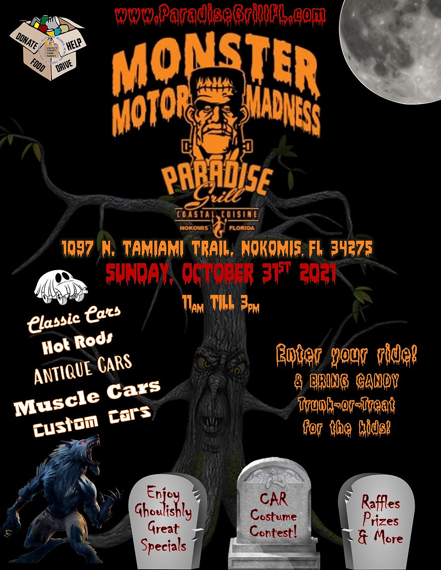 Monster Motor Madness Event info, car costume contest, trunk or treat, raffles, prizes, specials and more.